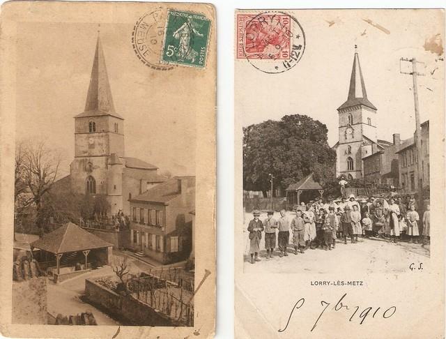 L'église de Lorry-lès-Metz avant et après 1903.